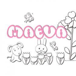 coloriage prénom Maeva