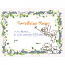 Diplôme merveilleuse maman, cadre marguerite et fleurs bleues