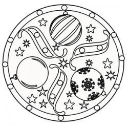 Mandala boules de noël à colorier