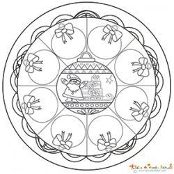 Mandala 9 boules de Noël
