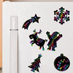 Magnets de Noël en carte à gratter