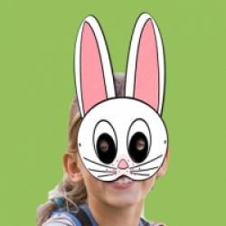 Masque de lapin blanc aux oreilles roses