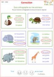 page de correction à imprimer pour l'exercice 1 d'orthographe pour le CE1