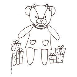Coloriage de l'oursonne aux cadeaux