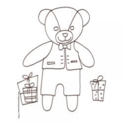 Coloriage d'un ours à Noël