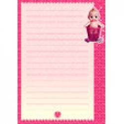 Papier a lettre fille avec bebe