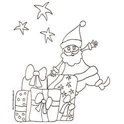 coloriage du Père Noël et les gros cadeaux