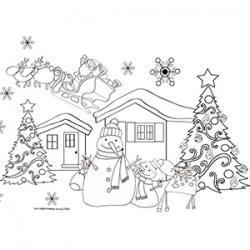 Coloriage du Père Noël et des bonshommes de neige