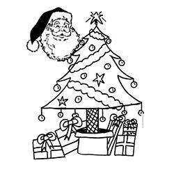 Coloriage de la tête du Père Noël devant le sapin - dessin 41