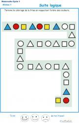 Imprimer l'Exercice 1 : suite logique pour la petite section de maternelle