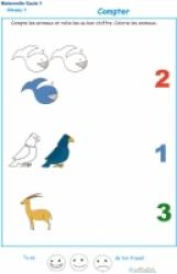 Imprimer l'exercice 2 pour apprendre  à compter maternelle niveau 1