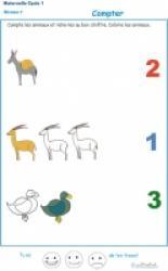 Imprimer l'Exercice 3 pour apprendre à compter maternelle niveau 1