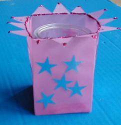 Photophore en papier calque rose