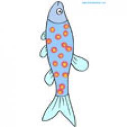 Image d'un poisson bleu à tâches rouges