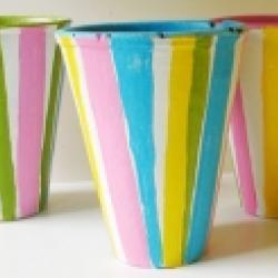 Pots de fleurs peints