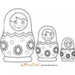 Coloriage poupées russes