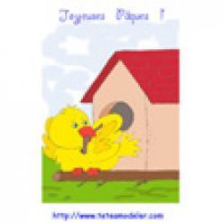 Image de Pâques : le poussin devant sa maison