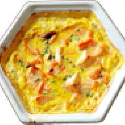 Cassolette de saumon frais au safran