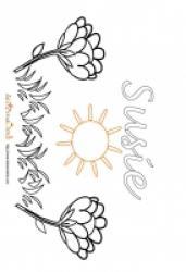 Coloriage prénom Suzie - Jardin fleuri