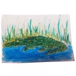 tableau crocodile mosaïque