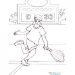 Coloriage de tennis lors d'un tournoi