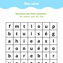 Imprimer le jeu de mots cachés n°2 sur les poissons, une grille pour jouer avec les mots cachés du poissonnier