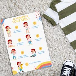 Imprimer gratuitement l'affiche pour aider les enfants à s'habiller seul. Vous pouvez la plastifier et la mettre dans la salle de bain ou dans la chambre afin que l'enfant visualise les étapes pour s'habiller seul