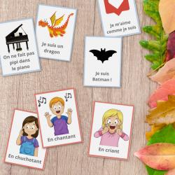 Un jeu gratuit et à imprimer afin d'aider les enfants dans leur développement et afin de travailler leurs voix, leur diction et leur phonation. Il suffira d'imprimer les cartes, de les découper et de suivre les instructions de l'article.
