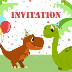 Imprimez votre invitation pour pouvoir inviter tout le monde au meilleur anniversaire de dinosaure du monde. Il suffira de l'imprimer sur une feuille A4 et de la monter afin de pouvoir la glisser dans l'enveloppe qui va avec.