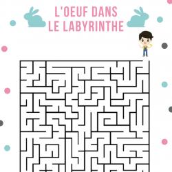 Un Jeu de labyrinthe de niveau intermédiaire où il faut aider les enfants à retrouver leur oeufs en chocolat de Pâques