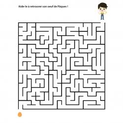 Un jeu de labyrinthe à imprimer sur le thème Pâques