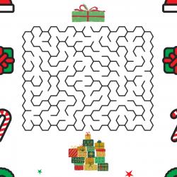 Vite, vite, il faut aider le Père Noël mettre le dernier cadeau sur la pile de cadeau pour le matin de Noël
