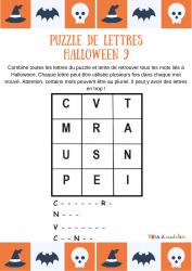 Un puzzle de lettres avec lesquelles votre enfant doit pouvoir écrire quatre mots liés à la fête d'Halloween. Votre enfant devra trouver un mot commençant par C, un commençant par N, un autre par V et le dernier par C.