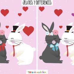 Un jeu de Saint Valentin très drôle à faire durant la Saint Valentin ! Il faudra trouver les 7 différences entre l'image de droite et l'image de gauche. Imprimez la feuille et proposer à votre enfant de résoudre ces énigmes.