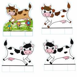 Au printemps les vaches sortent dans les prés ! Voici des petites vaches en papier à imprimer et découper pour se fabriquer des petits jouets en papier. Il suffit d'imprimer la planche de vaches directement sur de la carte.