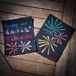 tuto de bricolage enfants pour réaliser une carte d'invitation feu d'artifice