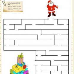 Une activité de Noà´l autour du labyrinthe, il faut observer, essayer pour trouver le chemin qui permettra au Père Noà™l de retrouver sUn jeu de labyrinthe d'observation et de logique pour ai