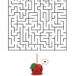 Le labyrinthe de Saint Valentin très drôle à faire durant la Saint Valentin ! Aider la pomme d'amour à trouver son amoureux afin qu'ils soient rassemblés pour toujours. Imprimez la feuille et proposer à votre enfant de résoudre ces énigmes.