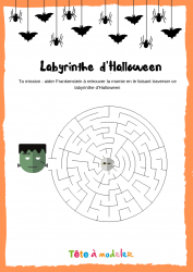 Voici un labyrinthe d'Halloween. Un jeu Halloween à imprimer gratuitement. Page 2