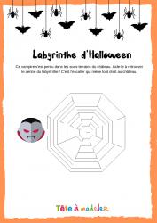 Voici un labyrinthe d'Halloween. Un jeu Halloween à imprimer gratuitement. Page 3