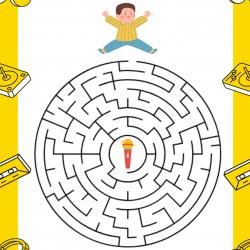 Imprimez gratuitement ce jeu de labyrinthe pour la Fête de la musique ou pour une semaine sur le thème de la musique. Trouve ton chemin à travers le labyrinthe pour aider le petit garçon à retrouver son micro.