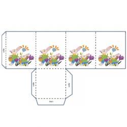 Lampion de Pâques avec deux lapins à imprimer pour le bricolage des enfants. Le lampion est à imprimer directement sur une feuille de papier calque format A4.