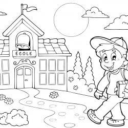 Un dessin à imprimer représentant un cartable pour la rentrée scolaire
