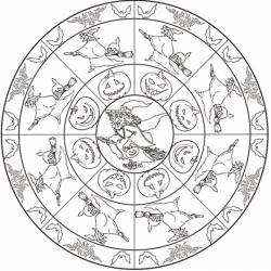 Voici une ronde de sorcières qui tournent sur leurs balais à l'occasion d'Halloween. Un mandala à imprimer pour les coloriages d'Halloween.