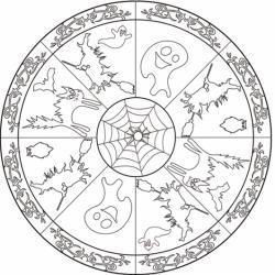 Un mandala sur Halloween à imprimer et à colorier. Sur ce mandala, votre enfant pourra s'amuser à colorier des motifs liés à la fête d'Halloween comme une sorcière, un chat, un fantôme, un hibou ... Le centre de ce mandala d'Halloween est une toil