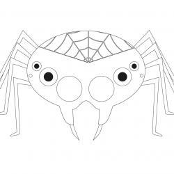 Masque d'Halloween à imprimer gratuitement afin d'avoir un déguisement de monstre d'araignée de dernière minute. Il suffira de l'imprimer sur du papier épais, de la découper afin de pouvoir partir à la chasse aux bonbons !