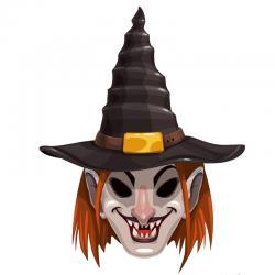 Un terrifiant masque de sorcière avec son chapeau à imprimer pour Halloween. Il vous suffira de le découper et de la monter afin d'être déguisé en effrayante sorcière pour Halloween