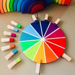 Une activité manuelle pour réaliser une roue des couleurs selon la méthode Montessori. Ce cercle chromatique permet de différencier les nuances de couleurs, de les associer et d'exercer la motricité fine avec la manipulation des épingles.