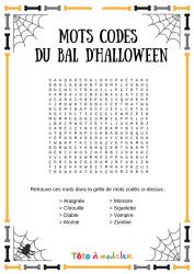 Voici un jeu de mots codés d'Halloween. Un jeu Halloween à imprimer gratuitement. Page 1