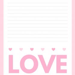 Papier à lettre fille amoureuse à imprimer : Papier à lettres  Baby Doll sur fond rouge et petits coeurs - Modèle du papier à lettres de Baby Doll